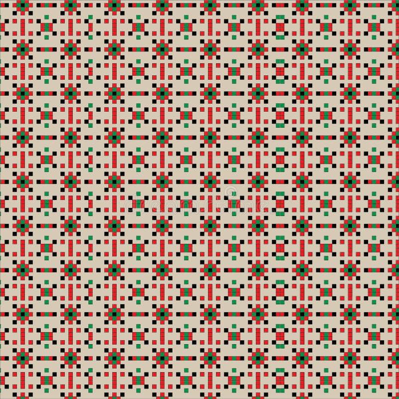 Nahtlose Retro- Mustermusterfülle für Gewebe- oder Textildruck Vektorweinlesequadrate in den verschiedenen Farben zusammen gemisc lizenzfreie abbildung