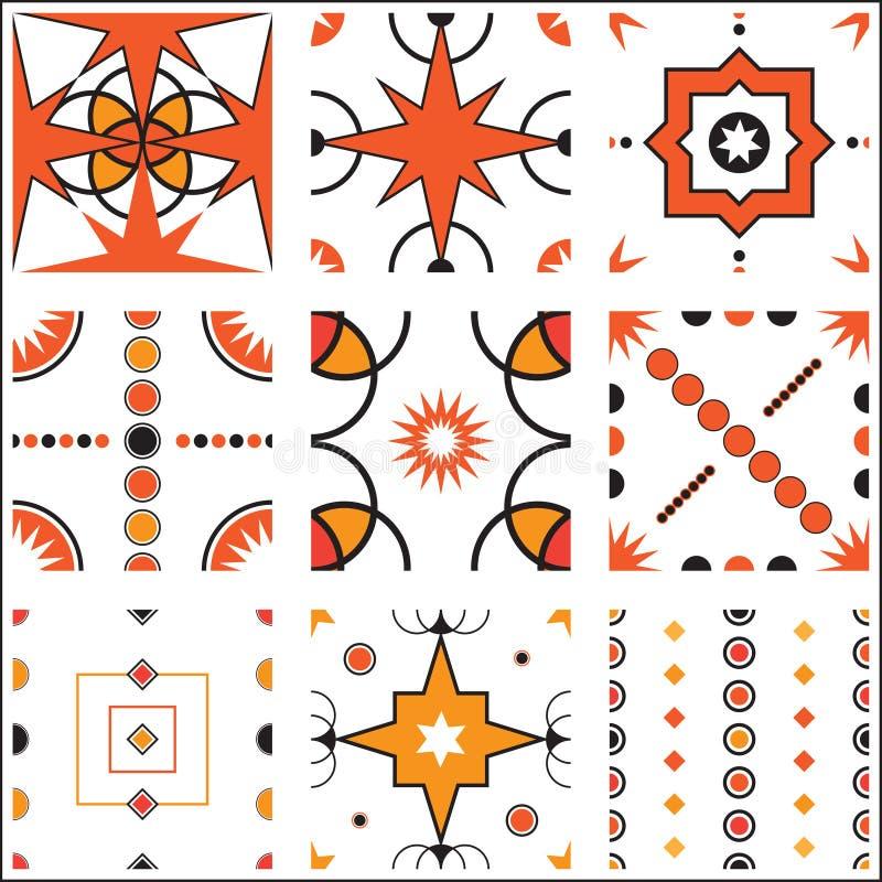 Nahtlose Retro- Tapeten-Muster-Fliesen-Vektor-Sammlung lizenzfreie abbildung