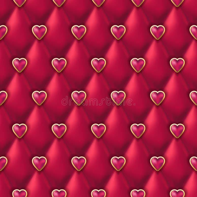 Nahtlose rote lederne Beschaffenheit mit rosa goldenen Herzen knöpft Vector silk Satingewebe, Valentinsgrußtageshintergrund stock abbildung