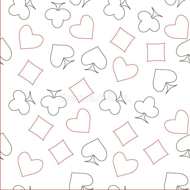 Nahtlose rote und schwarze Entwurfsspatenherzen, Diamanten, Clubs, Poker, kardiert Symbole auf weißem Muster vektor abbildung