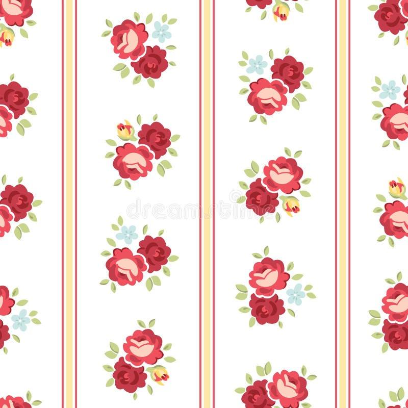 Nahtlose schäbige schicke Rose Pattern stock abbildung