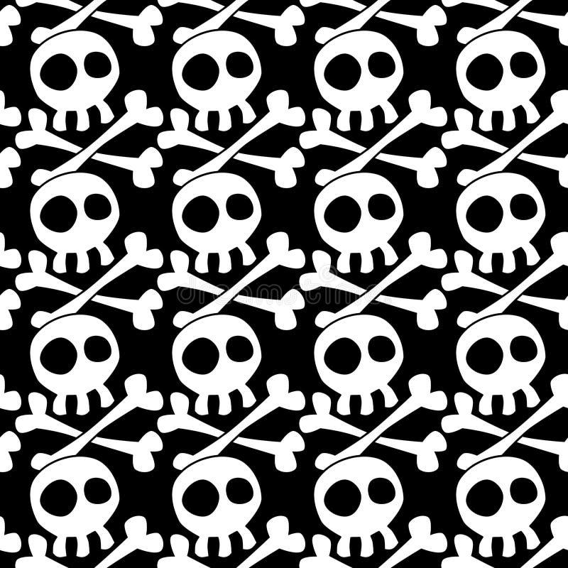Nahtlose Schädel und gekreuzter Knochen Hintergrund stock abbildung