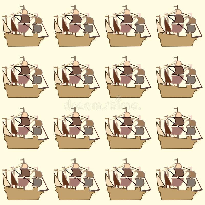 Nahtlose Schiffe auf einem beige Hintergrund vektor abbildung