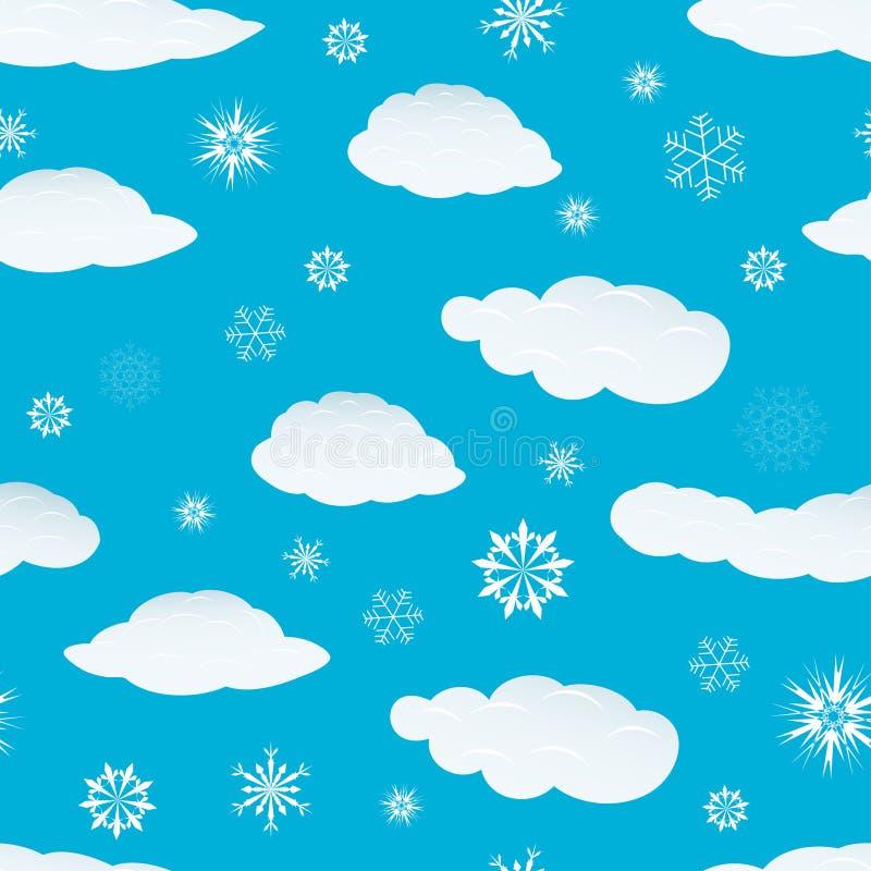 Nahtlose Schneeflocken und Wolken stock abbildung