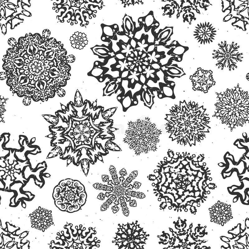 Nahtlose Schneeflockenvektoren der Weinlese lizenzfreie abbildung