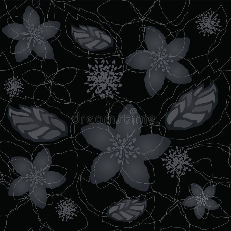 Nahtlose schwarze und silberne Blumentapete stock abbildung
