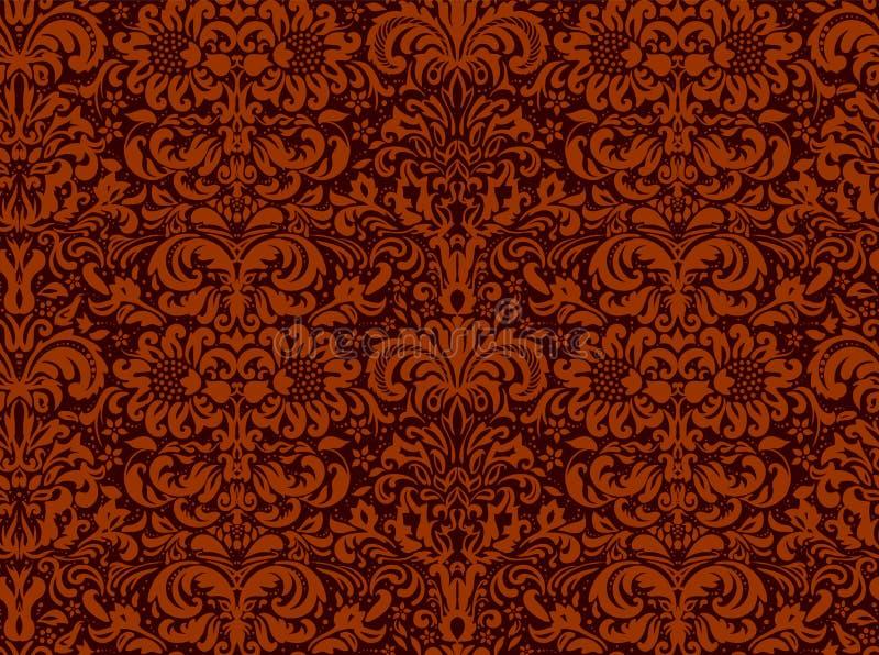 Nahtlose schwarze Verzierung auf einem roten Hintergrund, Tapete Blumenverzierung auf dem Hintergrund lizenzfreie abbildung