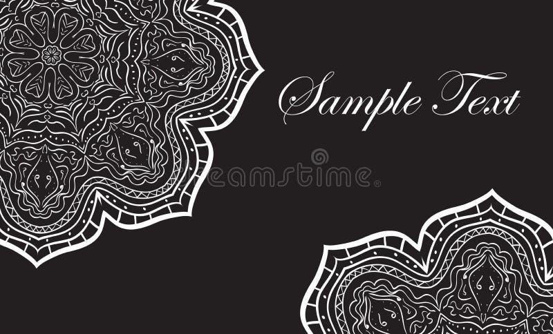 Nahtlose schwarze Visitenkarte der Mandala, elegante Visitenkarte, Vektorillustration lizenzfreie abbildung