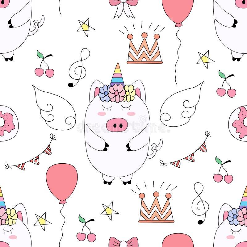 Nahtlose Schweinkarikatur-Handgezogene Art des Musters nette stock abbildung