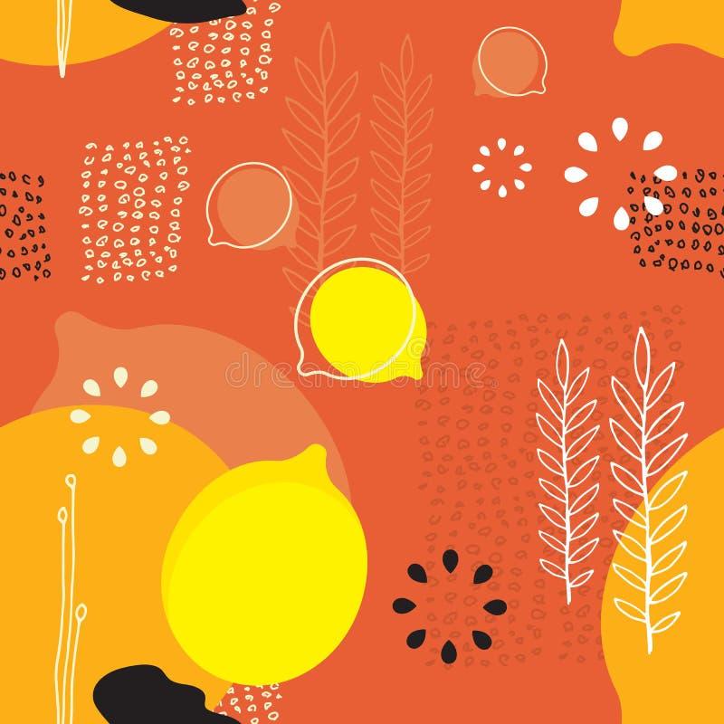 Nahtlose skandinavische Entwurfsart der Hintergrundmusterzitronen und -Florenelemente lizenzfreie abbildung