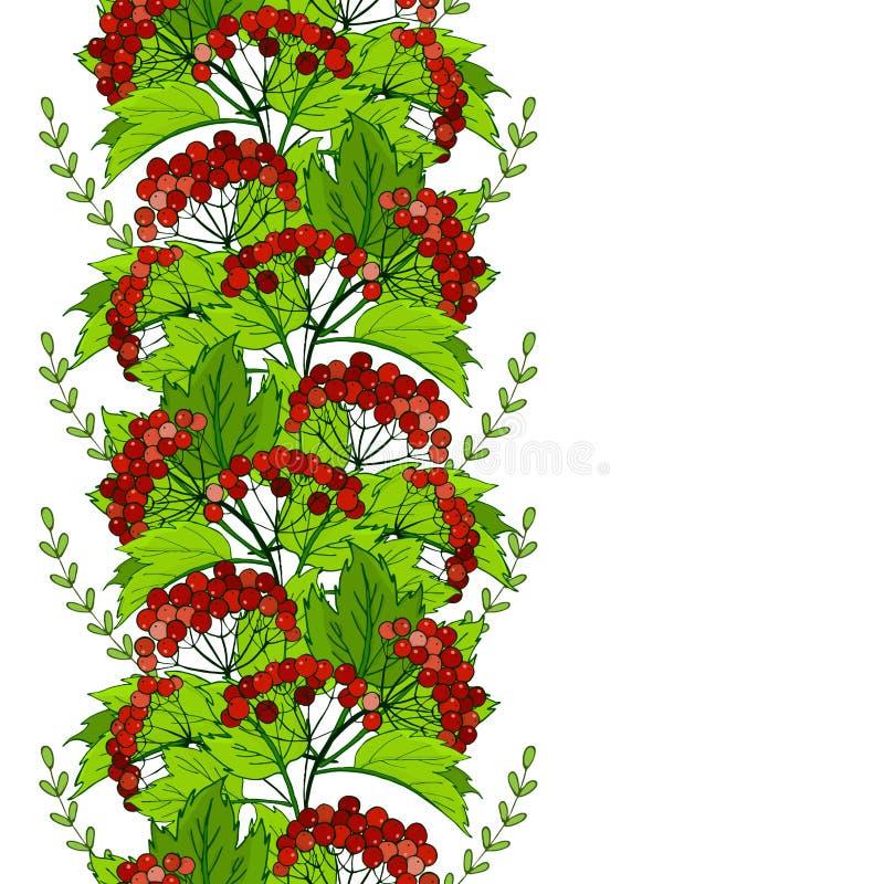 nahtlose Slavicverzierung mit Viburnum Muster mit Bündeln der roten Beeren stock abbildung