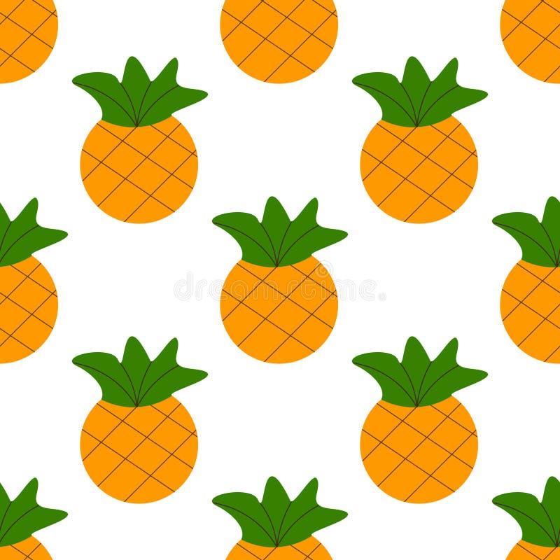Nahtlose Sommergoldananas auf weißem Hintergrund nahtloses Muster im Vektor lizenzfreie abbildung