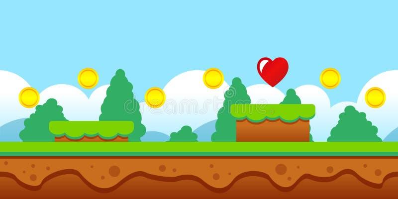 Nahtlose Spielszene der Vektorillustration mit Münzen und Herzen vektor abbildung