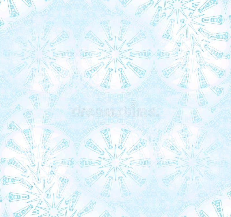 Nahtlose Spirale und Sternchen-Vereinbarung blaues Pastellweiß stock abbildung