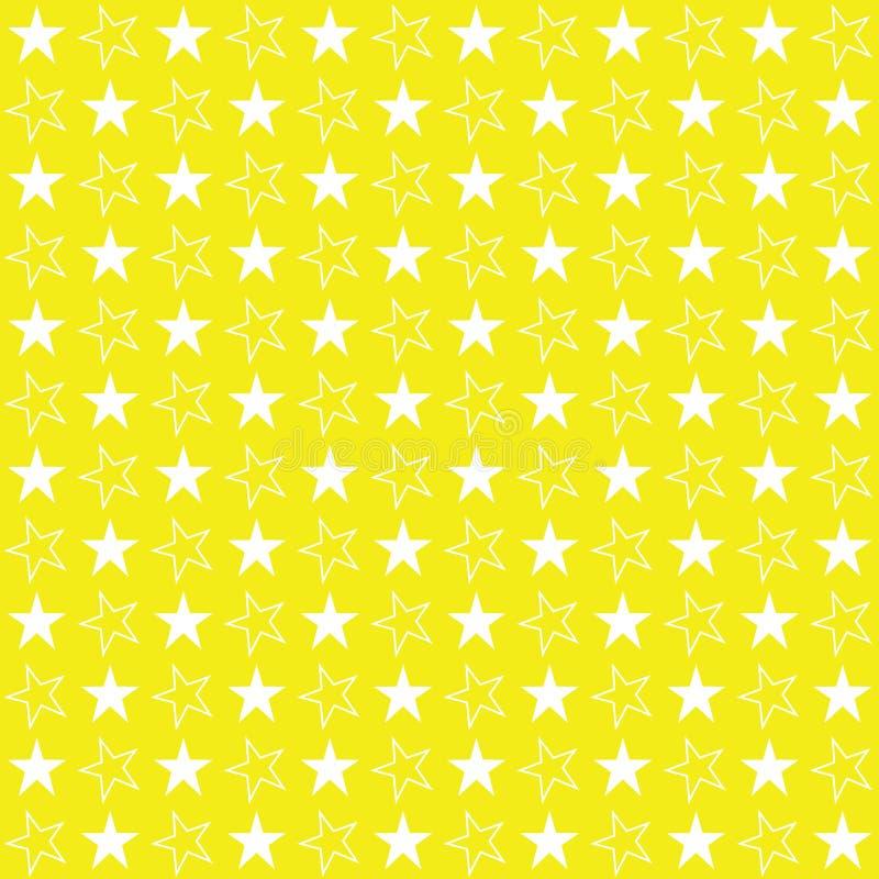 Nahtlose Sterne färben Muster, Vektorillustration, Sternhintergrund gelb lizenzfreie abbildung