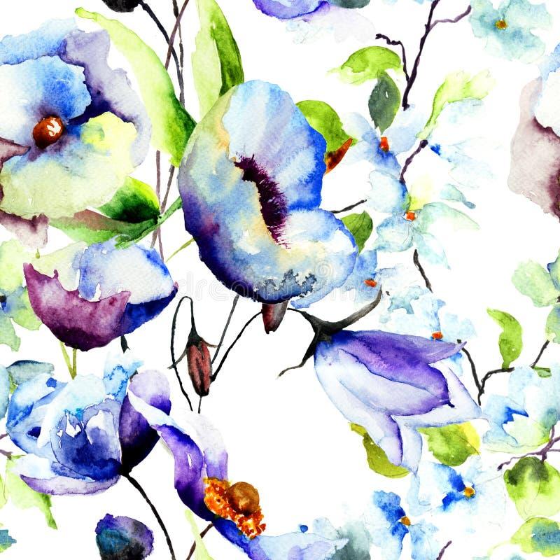 Nahtlose Tapete mit schönen blauen Blumen vektor abbildung