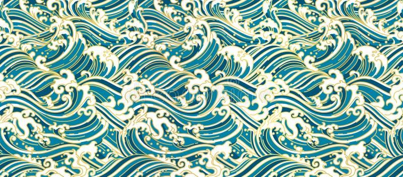 Nahtlose Tapete orientalischer Welle Japans vektor abbildung