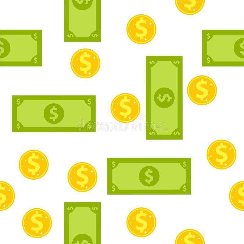 Nahtlose Tapete von Münzen und von Banknoten Tapete mit einem Bild des Geldes vektor abbildung