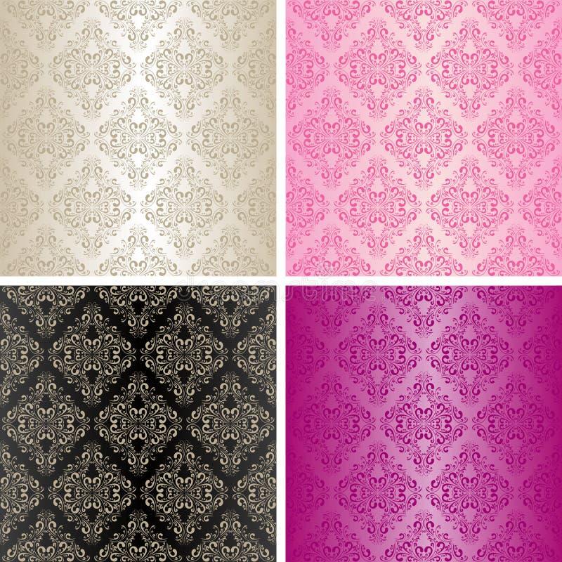 Nahtlose Tapeten - Set von vier Farben. vektor abbildung