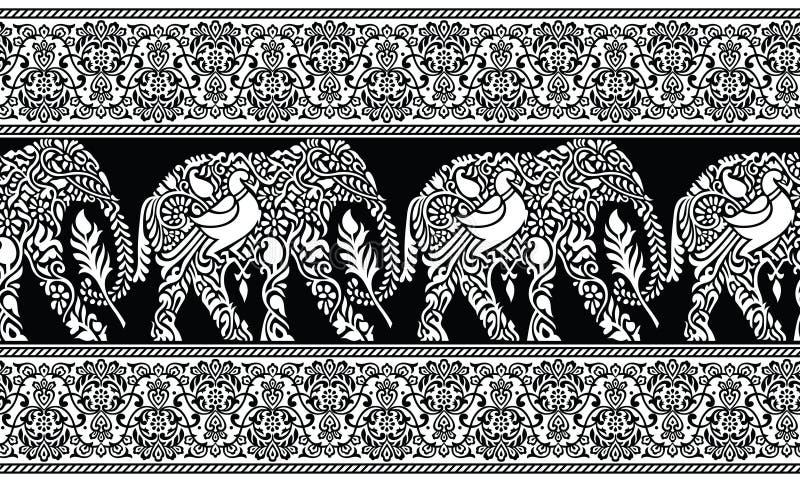Nahtlose traditionelle indische Schwarzweiss-Elefantgrenze vektor abbildung