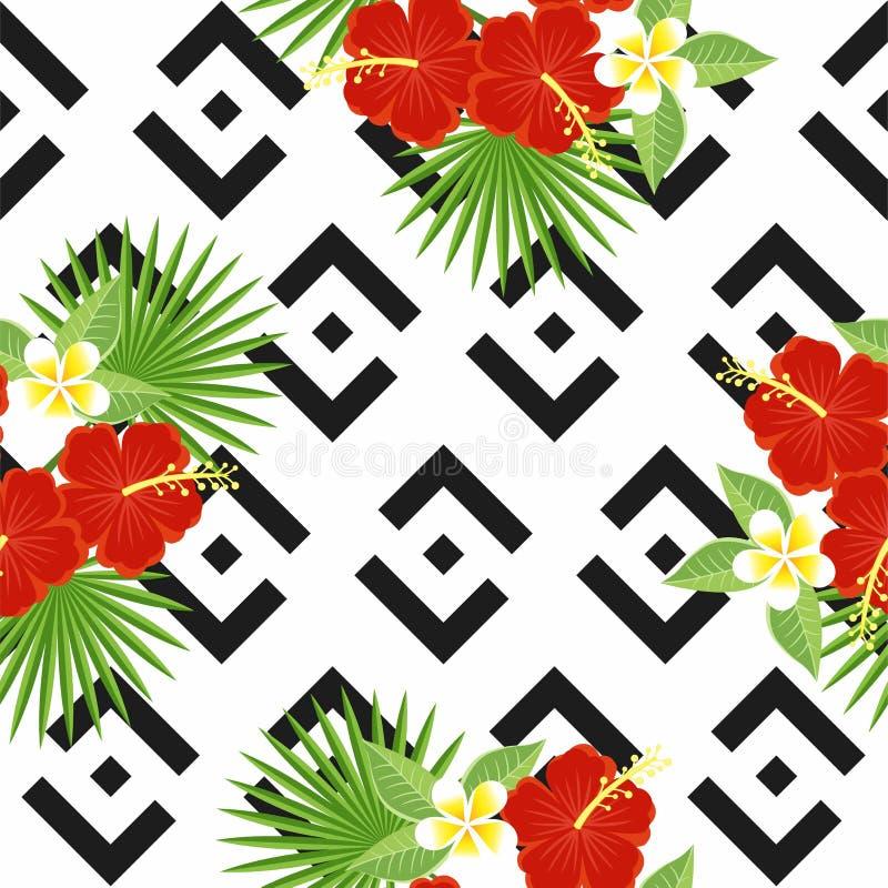 Nahtlose tropische Blätter und Blumen - Palme, monstera, Hibiscus und Plumeria vor dem hintergrund geometrischen stock abbildung