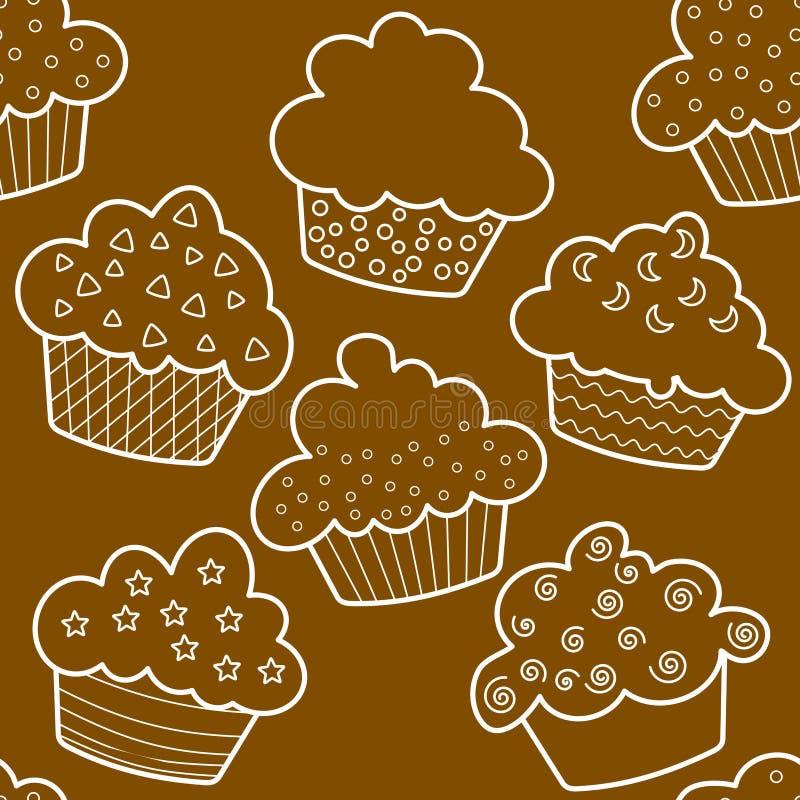 Nahtlose umrissene braune kleine Kuchen vektor abbildung