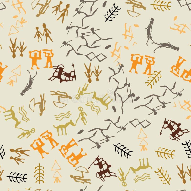 Nahtlose Vektorfelszeichnung Höhlenmalerei mit ethnischem peoplen stock abbildung