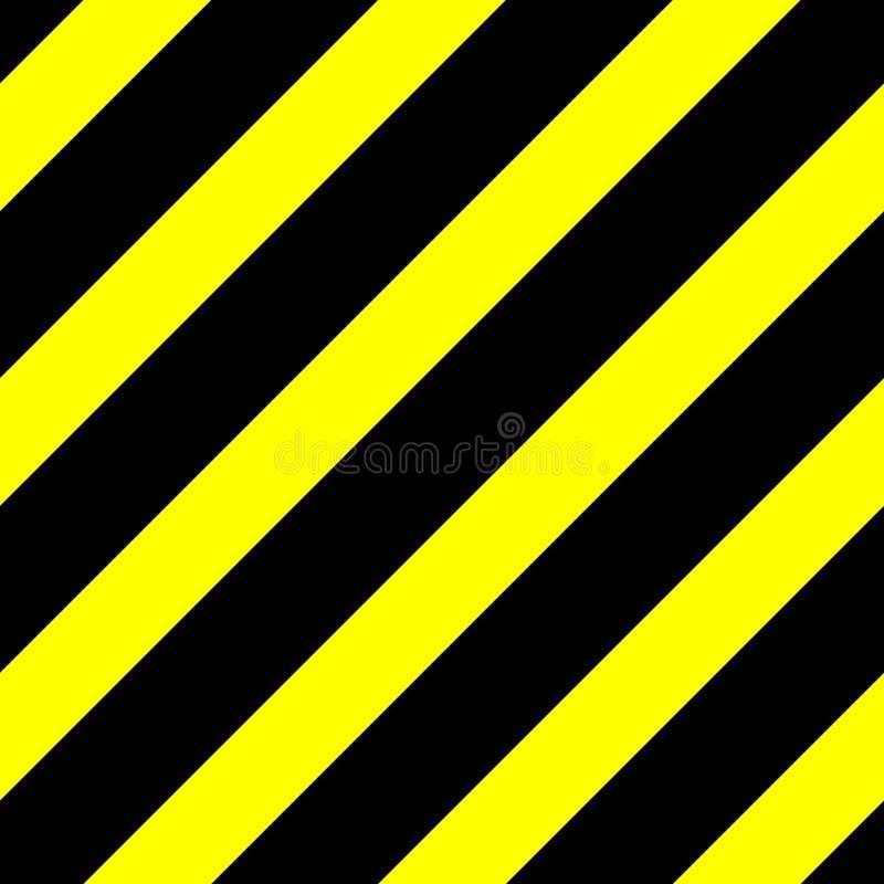 Nahtlose Vektorgraphik von schwarzen diagonalen Linien auf einem gelben Hintergrund Dieses bedeutet Gefahr oder eine Gefahr lizenzfreie abbildung