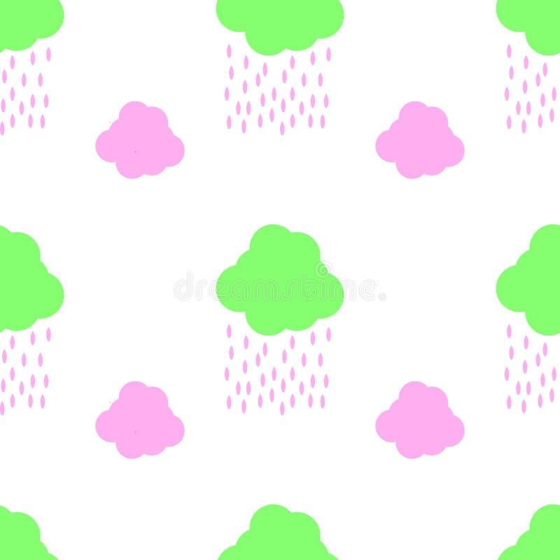 Nahtlose Vektorhintergrund-Musterillustration mit netten kindischen bunten abstrakten Kindern entwerfen Himmelwolken und Regen he stock abbildung