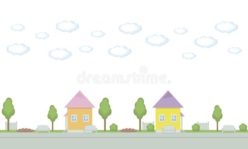 Nahtlose Vektormuster-Beschränkungsstraße malte Häuser von Baumbankblumenbeeten von Wolken auf weißem Hintergrund lizenzfreie abbildung