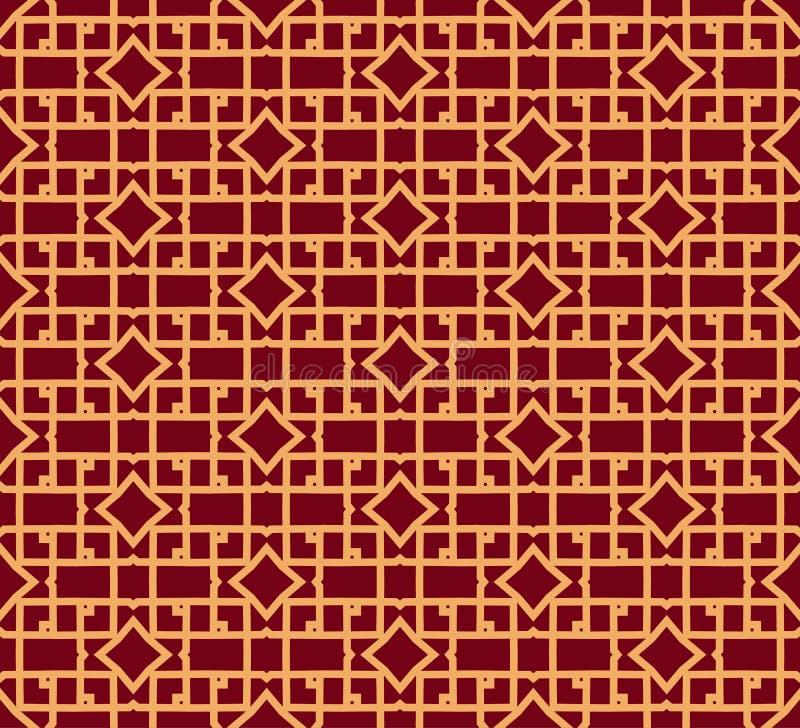 Nahtlose vektorverzierung Modernes stilvolles geometrisches lineares Muster mit goldener Farbe stock abbildung