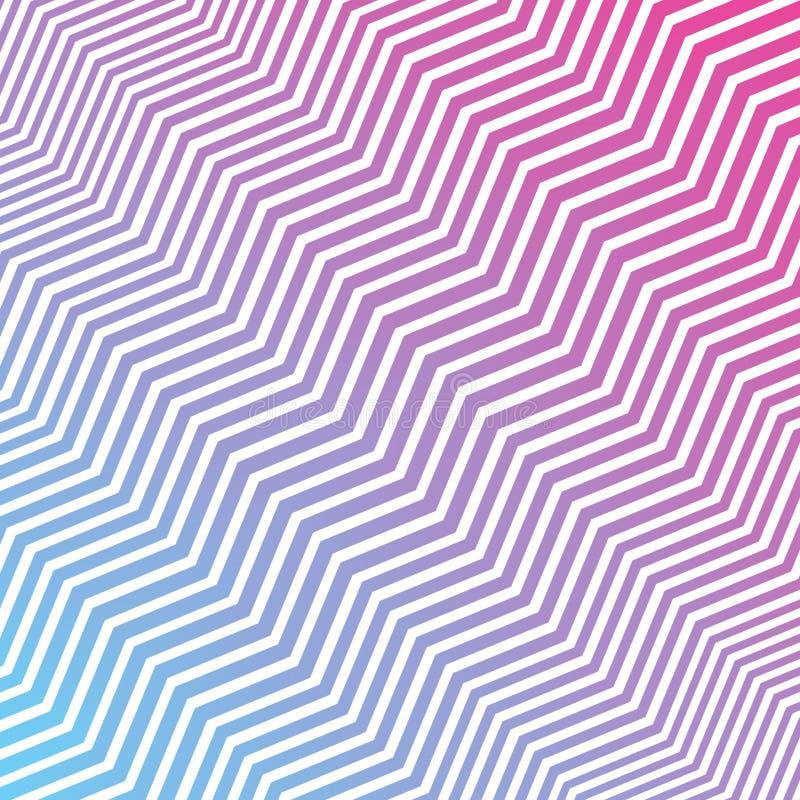 Nahtlose verschachtelnde diagonale rosa Blau-und weißezickzack-Streifen masern Hintergrund lizenzfreie abbildung