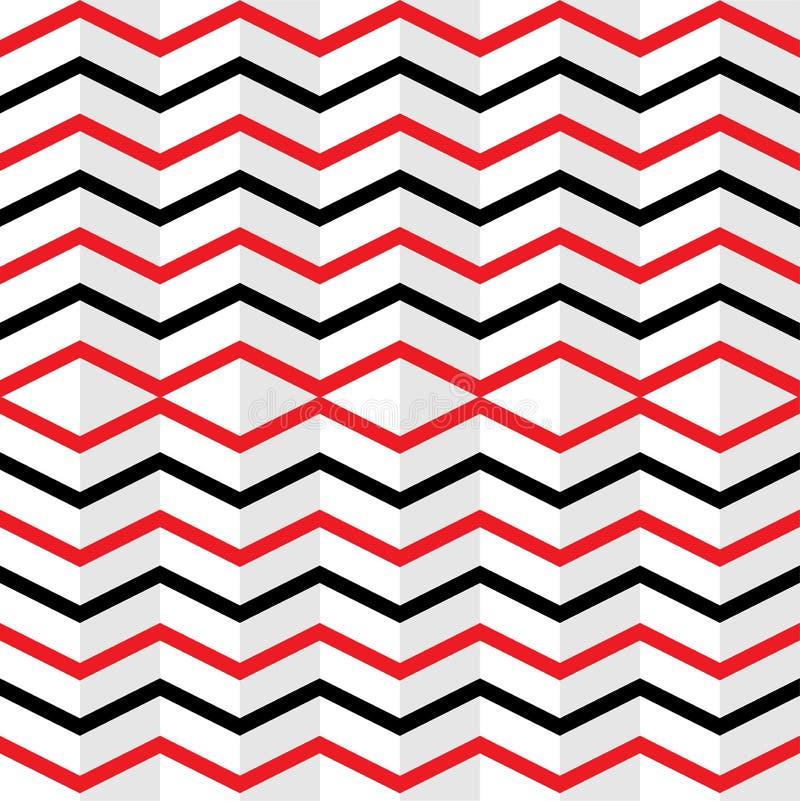 Nahtlose verschachtelte rote und schwarze Zickzack-Streifen masern im weißen Hintergrund lizenzfreie abbildung