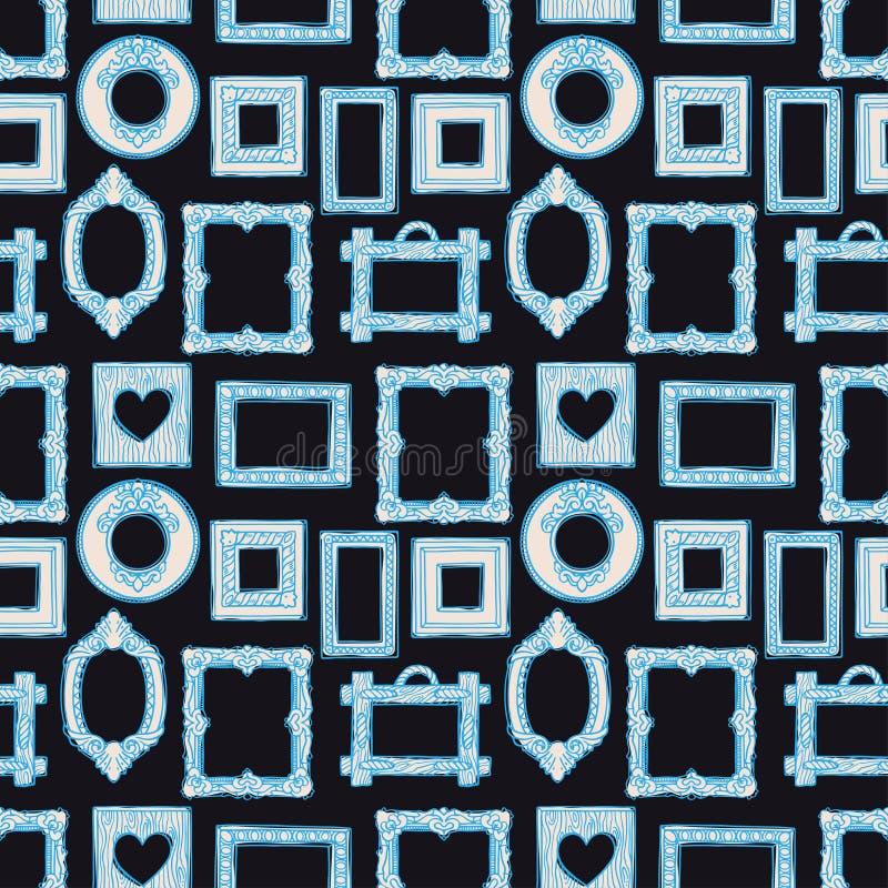Nahtlose verschiedene blaue Rahmen lizenzfreie abbildung