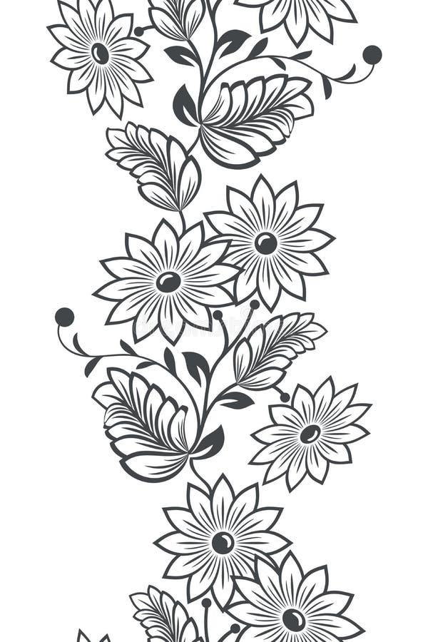 Nahtlose vertikale Blumenverzierung lizenzfreie abbildung