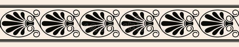 Nahtlose Verzierung der griechischen Art Schwarzes Muster auf einem beige Hintergrund vektor abbildung
