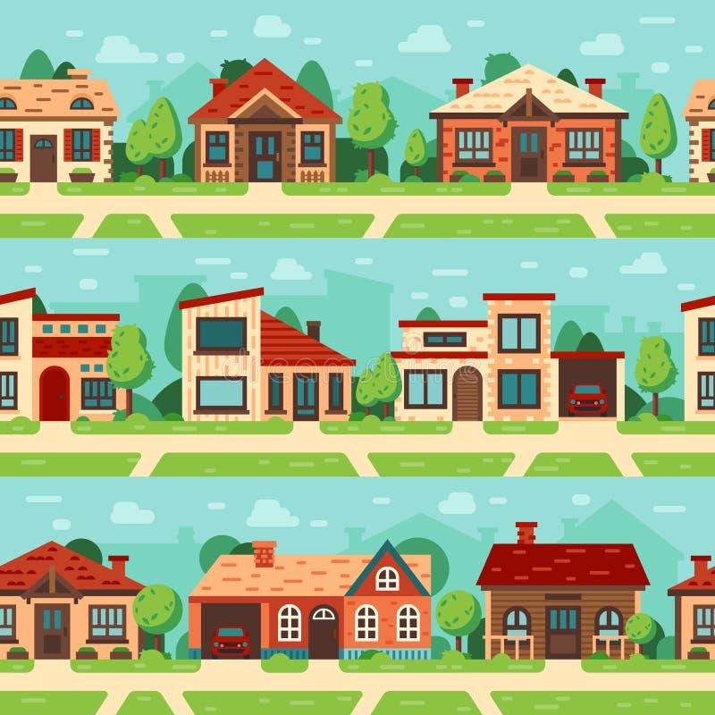 Nahtlose Vorstadthäuser Panoramisches Stadtbild mit Hausäußerem, Gebäuden und Vektorhintergrundsatz der Stadtstraße flachem stock abbildung