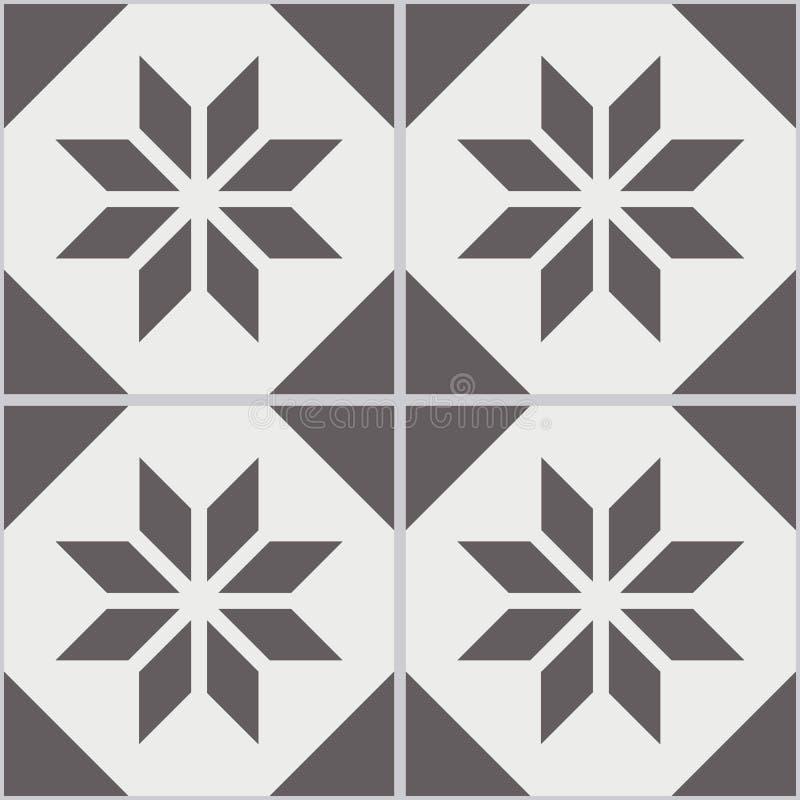 Nahtlose Wandfliesen der Weinlese des getragenen heraus schwarzen weißen Polygons lizenzfreie abbildung