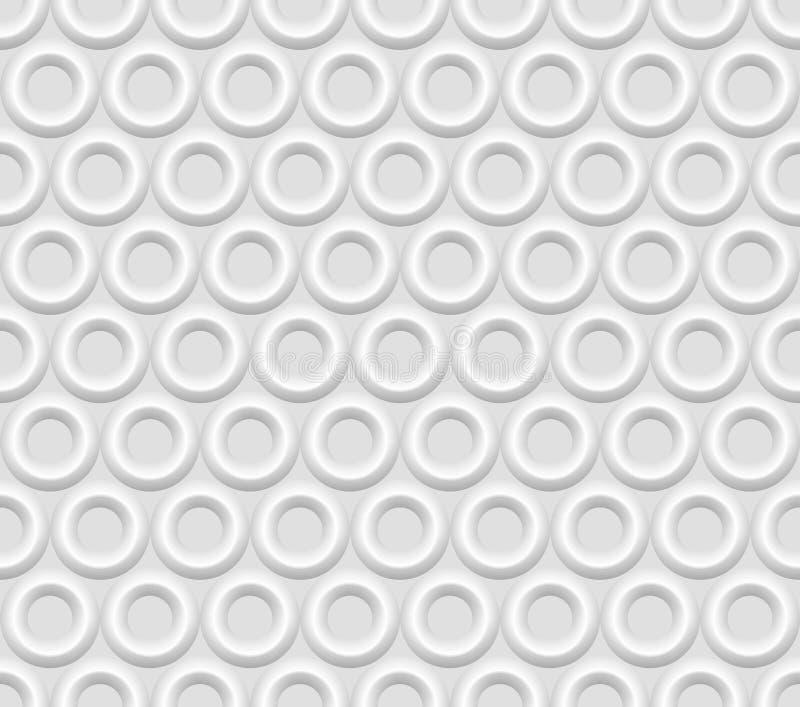 Nahtlose weiße abstrakte Hintergrundringe stock abbildung