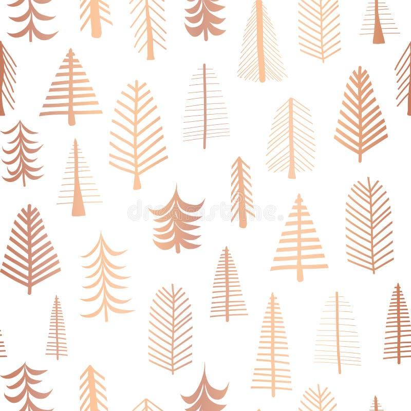 Nahtlose Weihnachtsbäume verkupfern Folienvektor-Musterhintergrund Goldene Gekritzelbäume der metallischen glänzenden Rose auf we stock abbildung