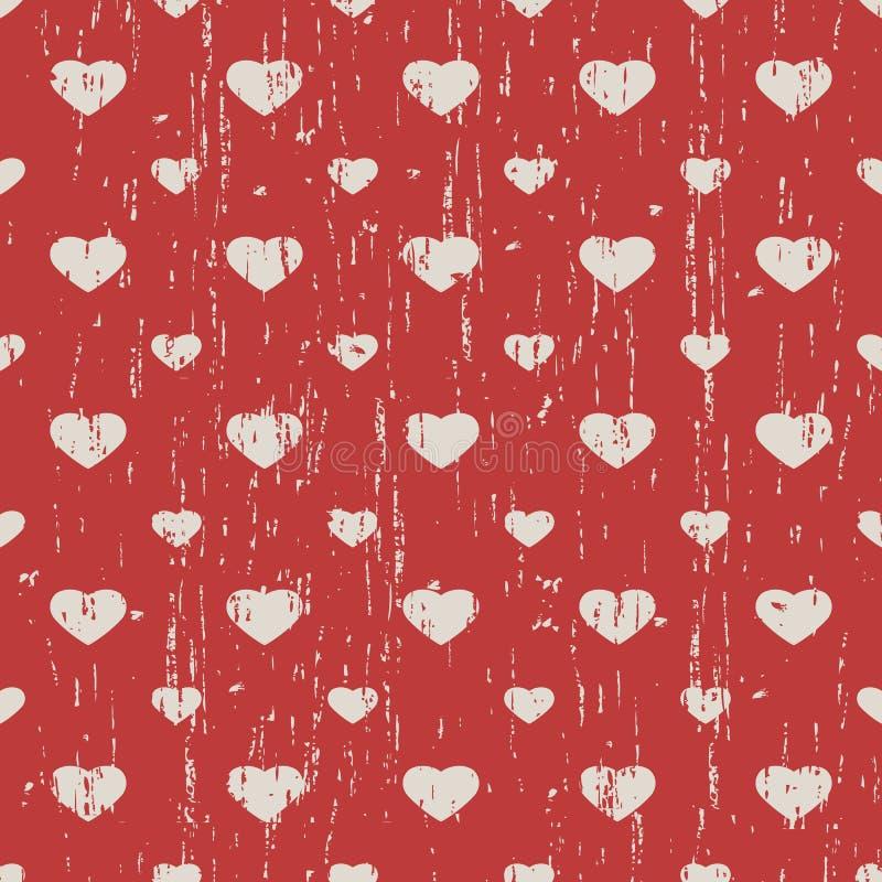 Nahtlose Weinlese getragener heraus Herzform-Musterhintergrund lizenzfreie abbildung
