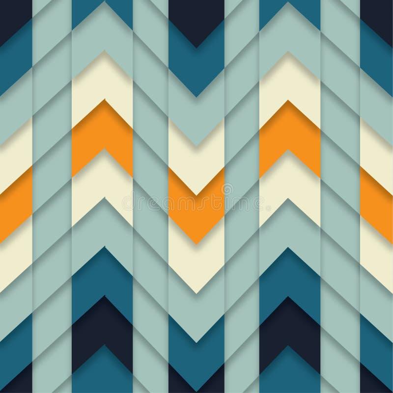 Nahtlose Zickzack-Muster-Zusammenfassungs-geometrisches Mosaik deckte Hintergrund Vektor mit Ziegeln stock abbildung