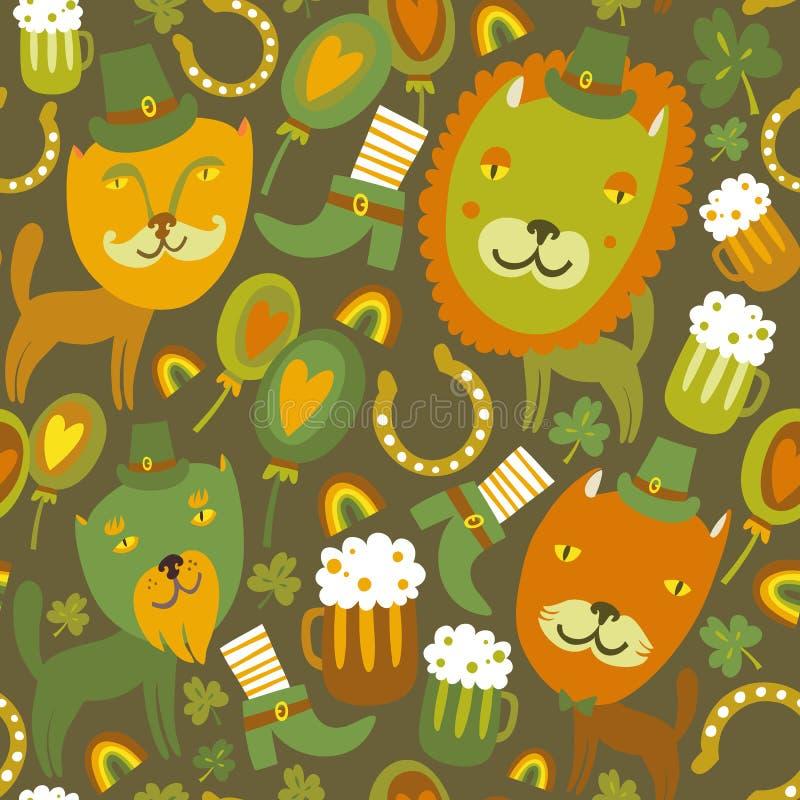 Nahtlosen St Patrick Tagesmuster mit Katzen lizenzfreie abbildung