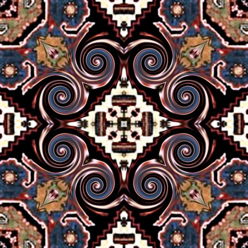 Nahtloser abstrakter farbiges symmetrisches Muster des Mosaiks der Weinlese Hintergrund auf Blumen-Dekor Design des strukturierte stockfoto