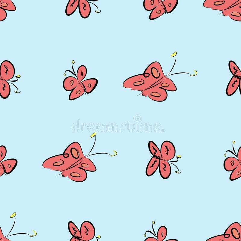 Nahtloser abstrakter Schmetterlingsillustrationshintergrund Skizze, Grafik, Oberflächen- u. digital stock abbildung
