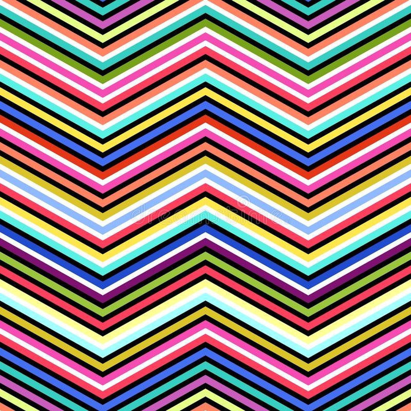 Nahtloser abstrakter Zickzack zeichnet Vektormuster Vector Modehintergrund in der Art der OPkunst der Weinlese vektor abbildung
