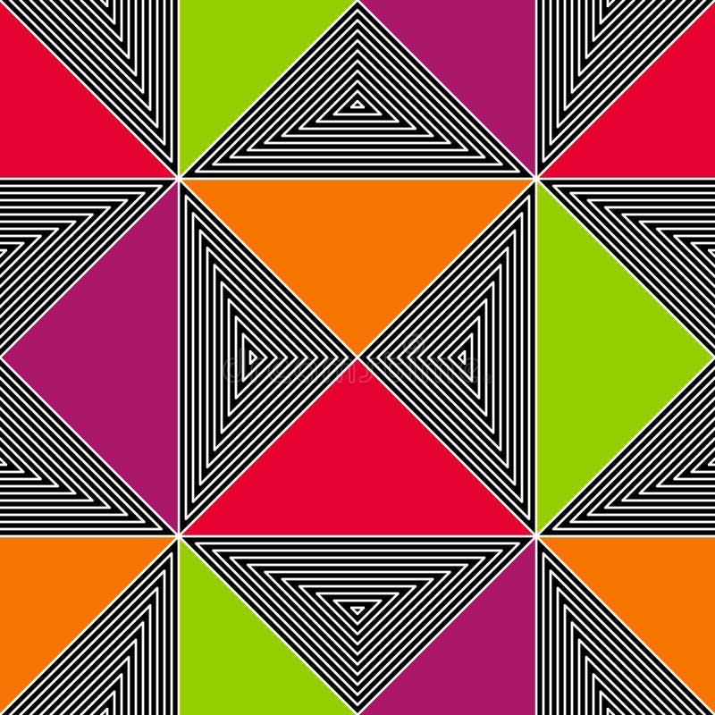 Nahtloser abstrakter Zickzack zeichnet Vektormuster Vector Modehintergrund in der Art der OPkunst der Weinlese lizenzfreie abbildung