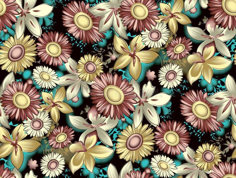 Nahtloser antiker Blumenblumenmusterhintergrund lizenzfreie abbildung
