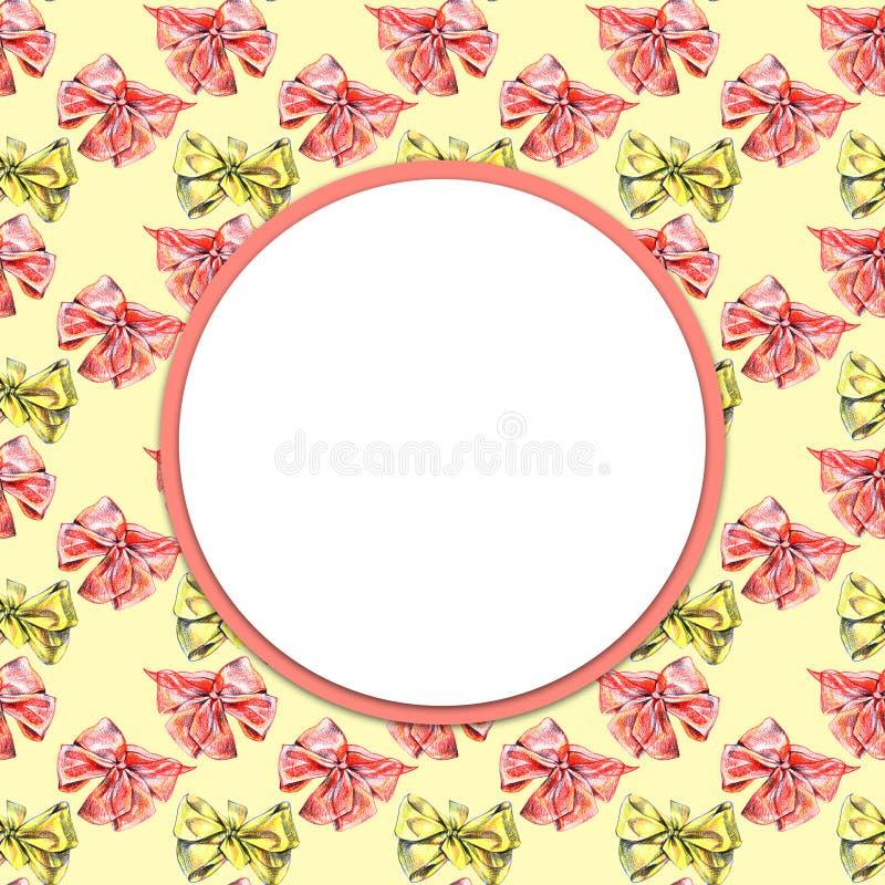Nahtloser Aquarellbleistift beugt Muster in der gelben und roten Farbe Hand gezeichneter Hintergrund stock abbildung
