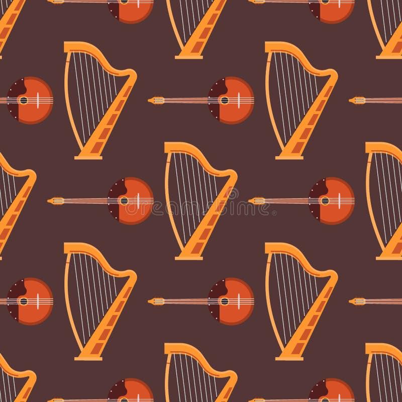 Nahtloser aufgereihte Musikinstrumente des Musters Hintergrund stock abbildung